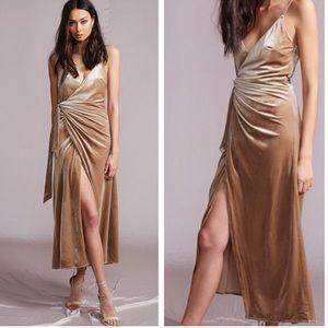 LIONESS Gold Velvet Midi Wrap Dress SMALL S 1159
